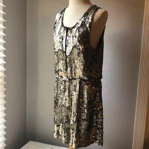 Dresses & Skirts - Vintage Gold Sequin Dress Flapper Dress Med/Large